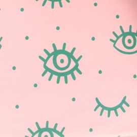 French Terry fabric - Pink Green Eye x 10cm