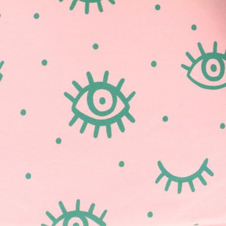 Tissu coton sweat léger Green eye - Rose x 10cm