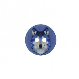 18 mm Polyester Button - Blue Wolf