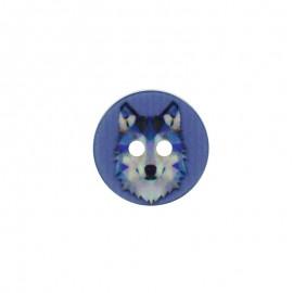 Bouton Polyester Loup 18 mm - Bleu