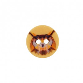 18 mm Polyester Button - Orange Owl