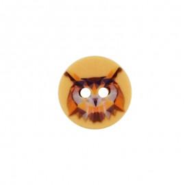 Bouton Polyester Hibou 18 mm - Orange