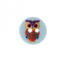 15 mm Polyester Button - Blue Huguette the owl