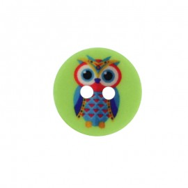 15 mm Polyester Button - Green Huguette the Owl