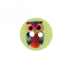 15 mm Polyester Button - Linden Green Huguette the Owl