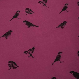 Sweatshirt fabric - Purple Birdy x 10 cm