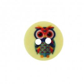 15 mm Polyester Button - Yellow Huguette the Owl