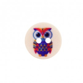 15 mm Polyester Button - Peach Huguette the Owl