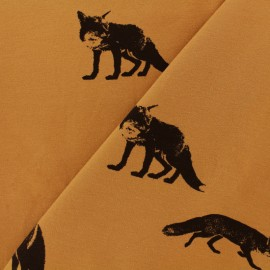 Sweatshirt fabric - Orange foxy fox x 10 cm