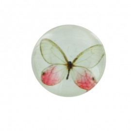 15 mm Polyester Button - White Papillony