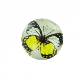 15 mm Polyester Button - Yellow Papillony