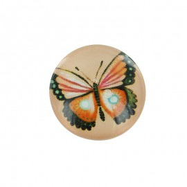 15 mm Polyester Button - Orange Papillony