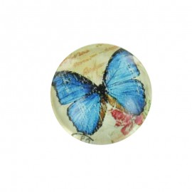 15 mm Polyester Button - Blue Papillony