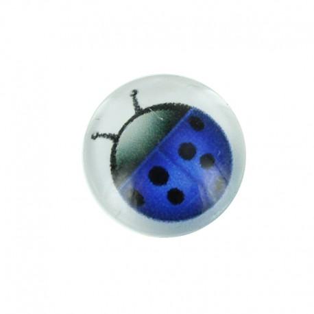 15 mm Polyester Button - Blue Coccinella