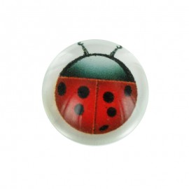 15 mm Polyester Button - Red Coccinella