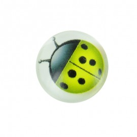 15 mm Polyester Button - Green Coccinella