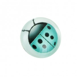 15 mm Polyester Button - Turquoise Coccinella