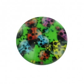 15 mm Polyester Button - Green Springy Ladybug