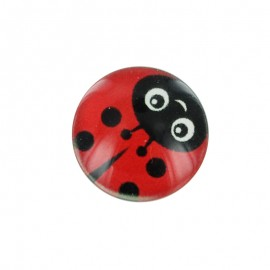 15 mm Polyester Button - Red Funny Ladybug