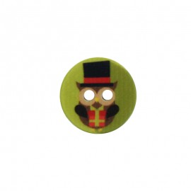 18 mm Polyester Button - Christmas Owl C