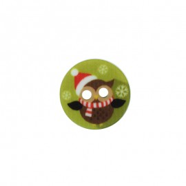 18 mm Polyester Button - Christmas Owl B