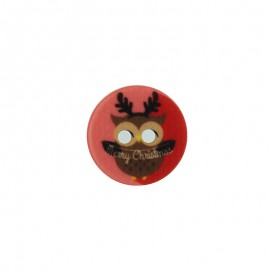 18 mm Polyester Button - Christmas Owl A