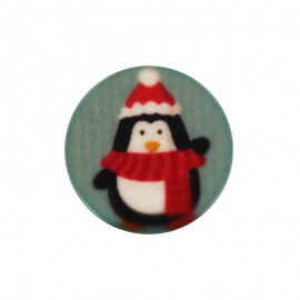 Polyester Button - Penguin Christmas Vibes