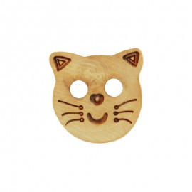 Wooden Button - Natural Cat