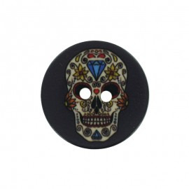 22 mm Polyester Button - Black Calaveras