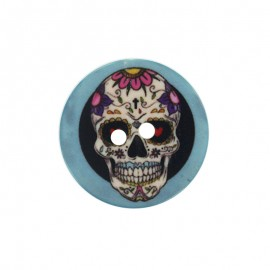 22 mm Polyester Button - Blue Calaveras