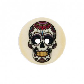22 mm Polyester Button - Peach Calaveras