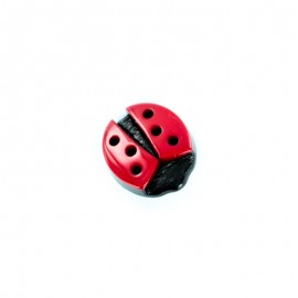 Polyester Button - Red Free Ladybug