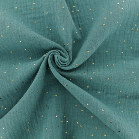 Double cotton gauze fabric - Eucalyptus Golden Dots x 10cm