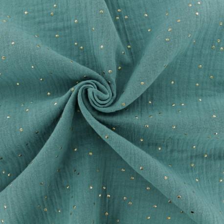 Tissu double gaze de coton pois doré - eucalyptus x 10cm