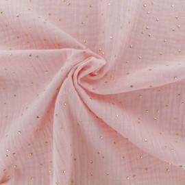 Double cotton gauze fabric - Blush Golden Dots x 10cm