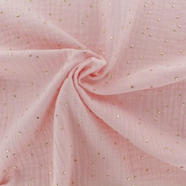Tissu double gaze de coton pois doré - blush x 10cm