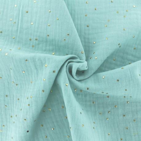 Tissu double gaze de coton pois doré - menthe claire x 10cm