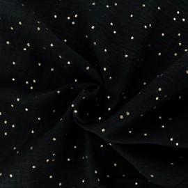 Tissu double gaze de coton pois doré - noir x 10cm