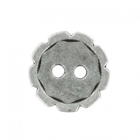 Metal Button - Ancient Silver Gearing