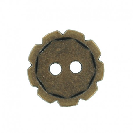 Bouton Métal Engrenage - Vieux Bronze