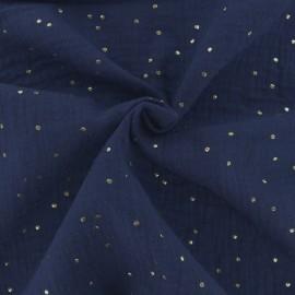 Tissu double gaze de coton pois doré - indigo x 10cm