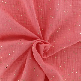 Double cotton gauze fabric - Coral Golden Dots x 10cm