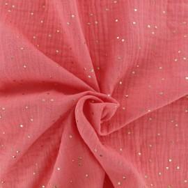 Tissu double gaze de coton pois doré - corail x 10cm