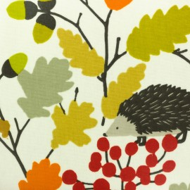 Matte Coated cotton fabric - White Autumn x 30cm