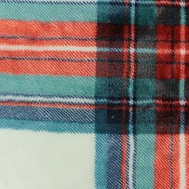 Tissu Doudou Tartan - blanc x 10 cm