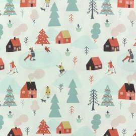 Poplin fabric - White Lapland holidays x 10cm