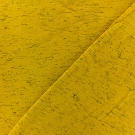 Tissu sweat chiné Lovely - jaune moutarde x 10cm