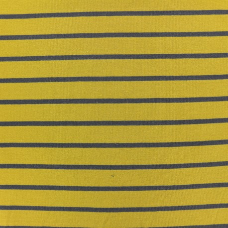 Tissu Sweat léger rayé gris - fond moutarde x 10cm