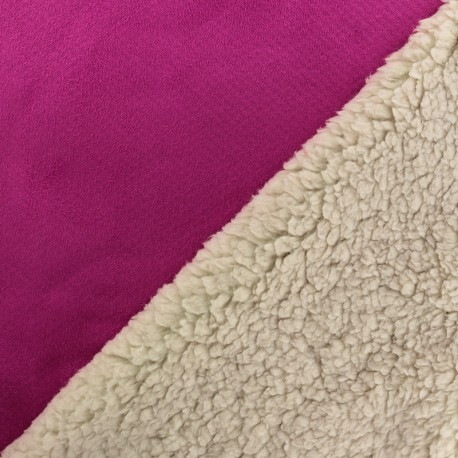 Fur fabric double face sheep and Suede Soft - Hot pink x 10cm