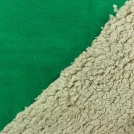 Fourrure mouton réversible aspect suédine Soft - vert intense x 10cm
